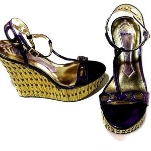Hale Bob Colby Leather Bamboo Wedge Sandals 9.5M